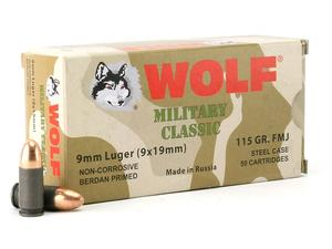 Wolf Military Classic Steel Case 9mm 115gr FMJ 50rd