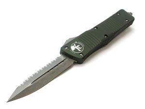 "Microtech Knives Combat Troodon D/E Apocalyptic Full Serrated 3.8"" OD Green Knife"