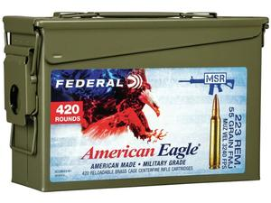 Federal American Eagle .223REM 55gr FMJ Boat Tail Ammo Can 420rd