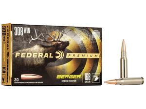 Federal Premium .308 Win 168gr Berger Hybrid Hunter 20rd